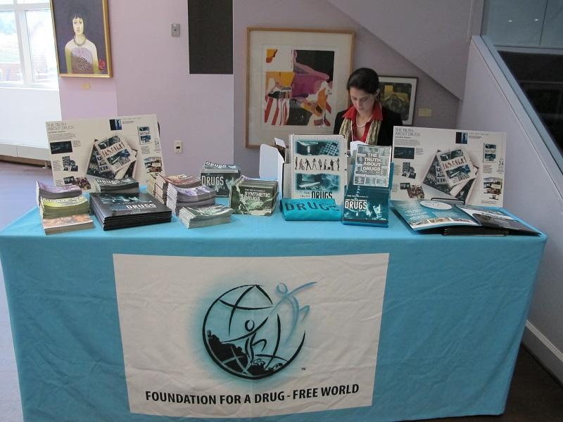 The Drug-Free World booth set-up for the Regional Synthetic Drugs Symposium event.
